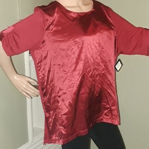 XL top by Halogen red Holiday satin pullover